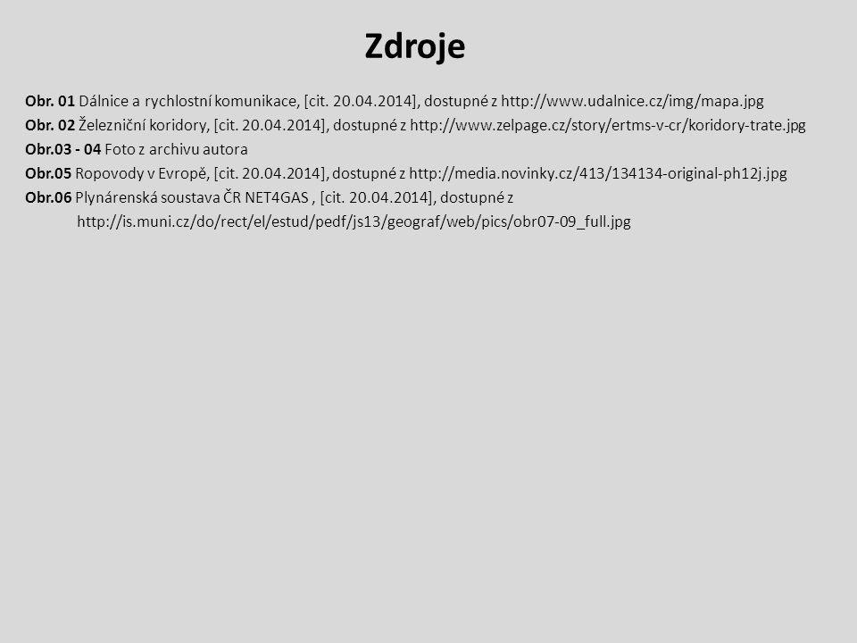 Zdroje Obr. 01 Dálnice a rychlostní komunikace, [cit. 20.04.2014], dostupné z http://www.udalnice.cz/img/mapa.jpg.